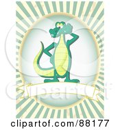 Posing Alligator Over A Blank Banner With Green Retro Bursts