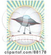 Royalty Free RF Clipart Illustration Of A UFO Over A Blank Banner With Blue Retro Bursts by mheld