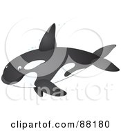 Royalty Free RF Clipart Illustration Of A Cute Orca Whale In Profile With Bubbles