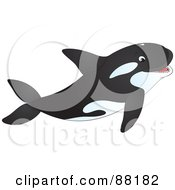 Royalty Free RF Clipart Illustration Of A Happy Orca Whale Swimming With His Mouth Open