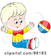 Royalty Free RF Clipart Illustration Of A Happy Blond Caucasian Baby Sitting On The Floor And Playing With A Ball