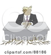 Tree Stump Businessman With Roots Sitting At A Desk