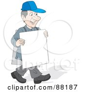 Royalty Free RF Clipart Illustration Of A Caucasian Man Walking Around And Wearing Signs