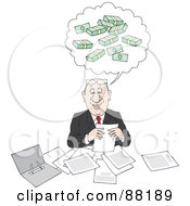 Royalty Free RF Clipart Illustration Of A Happy Businessman Doing Paperwork And Thinking Of Bundled Money by Alex Bannykh
