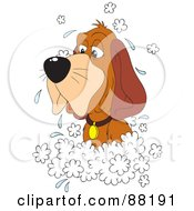 Royalty Free RF Clipart Illustration Of An Old Hound Dog In A Sudsy Bath