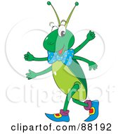 Royalty Free RF Clipart Illustration Of A Cute Four Armed Cricket Walking In Boots by Alex Bannykh