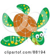 Happy Brown And Green Sea Turtle With Yellow Spots And Bubbles