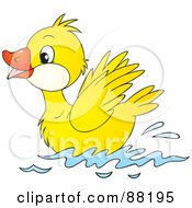 Royalty Free RF Clipart Illustration Of A Cute Yellow Duckling Swimming On Water