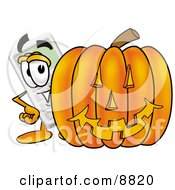 Clipart Picture Of A Calculator Mascot Cartoon Character With A Carved Halloween Pumpkin by Toons4Biz