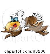 Royalty Free RF Clipart Illustration Of A Bald Eagle Flapping His Wings by dero