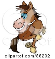 Royalty Free RF Clipart Illustration Of A Running Brown Horse Looking Back by dero