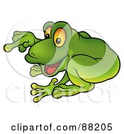 Royalty Free RF Clipart Illustration Of A Green Frog Crouching And Pointing by dero