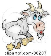 Royalty Free RF Clipart Illustration Of A Running White Goat