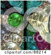 Royalty Free RF Clipart Illustration Of 3d Colorful Lines Of Spheres Over Black