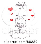 Outlined Stick Cupid Standing On A Cloud And Holding Up A Gift