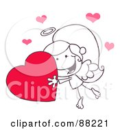 Outlined Stick Cupid Girl Carrying A Red Heart