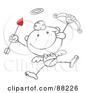 Outlined Stick Cupid Holding Up A Bow And Arrow