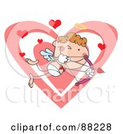 Stick Cupid Squinting One Eye While Aiming His Arrow In Front Of A Heart