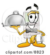 Calculator Mascot Cartoon Character Dressed As A Waiter And Holding A Serving Platter