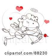 Outlined Stick Cupid With Red Hearts Closing One Eye While Aiming His Arrow