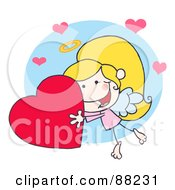 Stick Cupid Girl Flying With A Red Heart