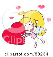 Royalty Free RF Clipart Illustration Of A Stick Cupid Girl Carrying A Red Heart by Hit Toon
