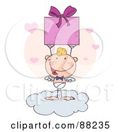 Stick Cupid Standing On A Cloud And Holding Up A Present