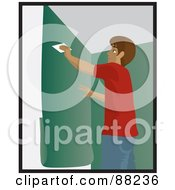Royalty Free RF Clipart Illustration Of A Hispanic Man Using A Scraper To Smooth And Install Green Wallpaper by Rosie Piter