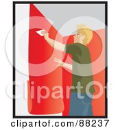 Royalty Free RF Clipart Illustration Of A Caucasian Man Using A Scraper To Smooth And Install Red Wallpaper