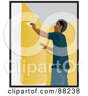 Royalty Free RF Clipart Illustration Of A Black Man Using A Scraper To Smooth And Install Yellow Wallpaper by Rosie Piter