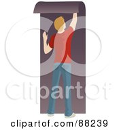 Royalty Free RF Clipart Illustration Of A Caucasian Man Hanging Purple Wallpaper by Rosie Piter