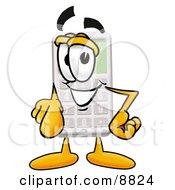 Calculator Mascot Cartoon Character Pointing At The Viewer