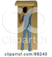 Royalty Free RF Clipart Illustration Of A Black Man Hanging Brown Wallpaper by Rosie Piter