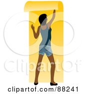 Black Woman Hanging Yellow Wallpaper Over Her White Wall