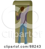 Royalty Free RF Clipart Illustration Of A Hispanic Man Hanging Green Wallpaper by Rosie Piter