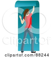 Royalty Free RF Clipart Illustration Of A Caucasian Woman Hanging Blue Wallpaper Over Her White Wall by Rosie Piter
