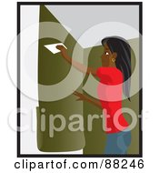 Royalty Free RF Clipart Illustration Of A Black Woman Using A Scraper To Apply Green Wallpaper To Her Wall by Rosie Piter