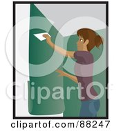 Hispanic Woman Using A Scraper To Apply Green Wallpaper To Her Wall