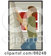 Royalty Free RF Clipart Illustration Of A Hispanic Man Climbing A Ladder On The Side Of A House by Rosie Piter