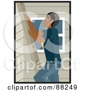 Royalty Free RF Clipart Illustration Of A Black Man Climbing A Ladder On The Side Of A House by Rosie Piter