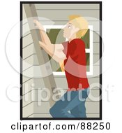 Royalty Free RF Clipart Illustration Of A Caucasian Man Climbing A Ladder On The Side Of A House by Rosie Piter
