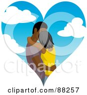 Royalty Free RF Clipart Illustration Of An Indian Or Black Couple Kissing Inside Of A Cloudy Sky Heart by Rosie Piter