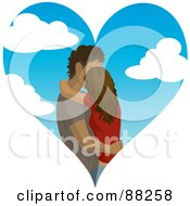 Royalty Free RF Clipart Illustration Of A Hispanic Couple Kissing Inside Of A Cloudy Sky Heart by Rosie Piter