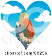 Royalty Free RF Clipart Illustration Of A Caucasian Couple Kissing Inside Of A Cloudy Sky Heart