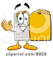 Clipart Picture Of A Calculator Mascot Cartoon Character Holding A Yellow Sales Price Tag by Toons4Biz