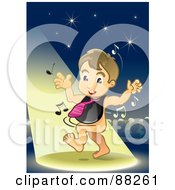 Royalty Free RF Clipart Illustration Of A Baby Boy Dancing In The Spotlight Wearing A Bib And Tie by NoahsKnight