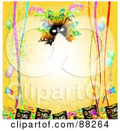 Yellow Background Bordered With Carnival Masks Confetti Ribbons And Balloons