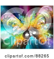 Royalty Free RF Clipart Illustration Of A Colorful Carnival Mask On A Shining Glittery Background by MacX #COLLC88265-0098