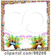 Royalty Free RF Clipart Illustration Of A White Background Bordered With Two Carnival Masks And Colorful Confetti by MacX