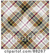 Royalty Free RF Clipart Illustration Of A Gray Pink Blue And Yellow Tartan Plaid Patterned Background by MacX